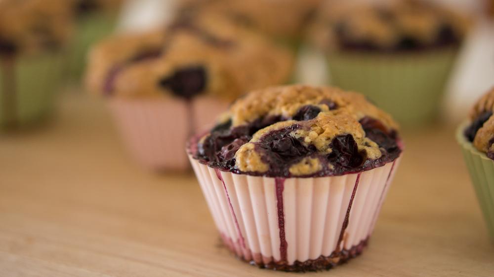 Choc-Beet muffins with yoghurt and raspberries