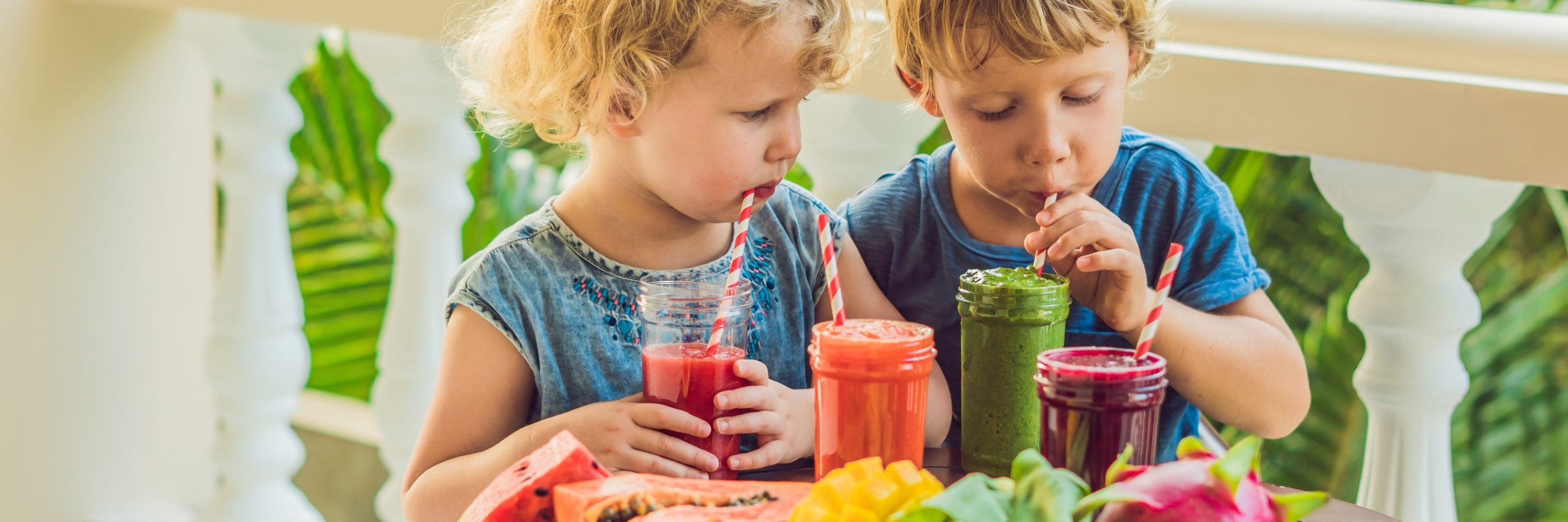 Children drink colorful healthy smoothies. Watermelon, papaya, mango, spinach and dragon fruit. Smoothies, juices, beverages, drinks variety with fresh fruits on a wooden table. BANNER, long format